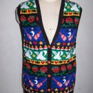 Vintage Medium Halloween Sweater Vest Jack O Lanterns Bats Ghosts Spooky Spyders