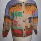 Sweater Loft Womens Medium Cardigan Sweater Fall Harvest Thanksgiving Scarecrow Barn Pumpkins Apples
