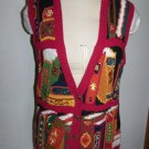 Marisa Christina Hand Knitted Sweater Vest with Books on A Bookshelf Beaded Metallic