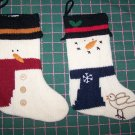 2 Vintage Snowman Christmas Stockings Knitted Country Style