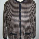 Large Womens Vintage Pendleton Jacket Black Tan Check Pure Virgin Wool USA