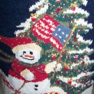 Tiara Womens Ugly Christmas Tree Sweater Skiing Snowman with USA Flag Beads & Sequins