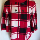 Luxe 360 Womens Sweater Shirt Large Top Double Breasted Red White Black Winter