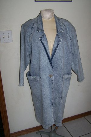 Vintage Womens Apache Jacket Acid Wash Long Denim Duster