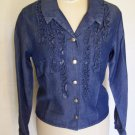 Vintage Double D Womens XS Shirt Ruffled Front Metal Rivets 100% Tencel fabric