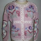 Jennifer Reed Cardigan Sweater Womens Pink Floral Doves Hearts Knit By Hand