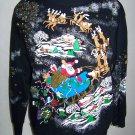 Vintage Tacky Ugly Christmas Party Sweatshirt Santa Reindeer Sleigh Glitter Paint
