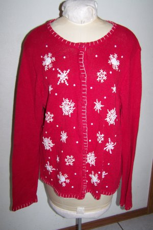 Vintage Ugly Christmas Sweater Button Up Cardigan Red With Iridescent   sequins Beaded SNowflakes