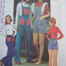 Uncut Vintage Misses Overalls Shorts Or Bell Bottom Pants Detachable Bib Sewing Pattern 6107