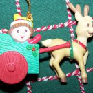 In Box Matrix Christmas Traditions Holiday Ornament Girl in Cart Pulled By Reindeer