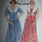 Vintage Uncut Sewing Pattern 9554 Misses Sailor Collar Dress Dropped Waist 16 18 20 22