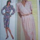 Uncut Vintage Sewing Pattern 7888 Misses Mock Wrap DRESS Tulip Hem & Sleeve Or Long Cuff Sleeves