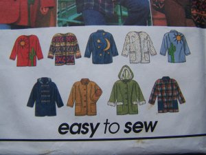 Uncut Womens L XL Sewing Pattern 9287 Jacket Coat Your Design Patches Appliques Fabric Paint