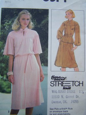 Uncut 1970's Womens Pullover 2 Piece Dress Stand Up Collar Yoke Flutter Sleeves Sewing Pattern 8514