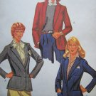 Uncut Vintage 1980s Womens Long Sleeve Button Up Fitted Blazer Jacket Sewing Pattern 7263