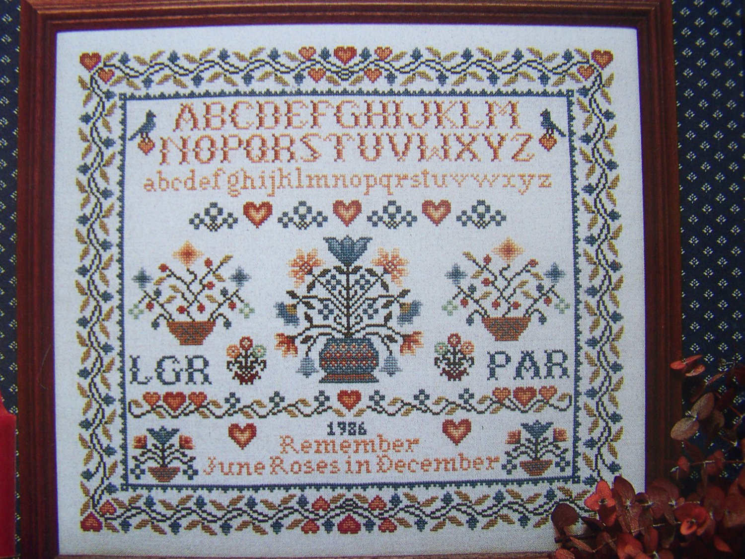 Vintage counted cross stitch sampler pattern remember june