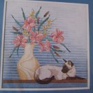 1980s Vintage Counted Cross Stitch Craft Kit Siamese Cat Art Deco Picture 50240
