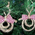 10 Handmade Rope  Lasso Lariat Country Western Ornaments Red Tan Fabric Bows