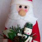 New Santa Christmas Tree Toppper Decoration Red Felt Stocking Vintage Ornament