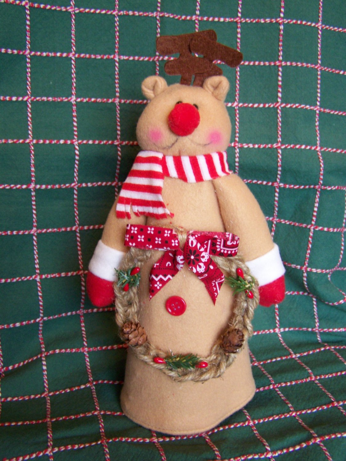 New Rudolph Reindeer Christmas Tree Topper Country Rope
