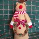 New Rudolph Reindeer Christmas Tree Topper Country Rope Wreath Pinecones Berries