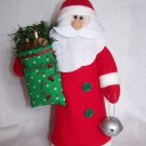 New Country Santa Christmas Tree Toppper Decoration Bag of Rustic Goodies Bell