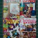 4 Magazine Lot Christmas Crafts Patterns Knitting Crochet Cross Stitch Sewing Needlepoint