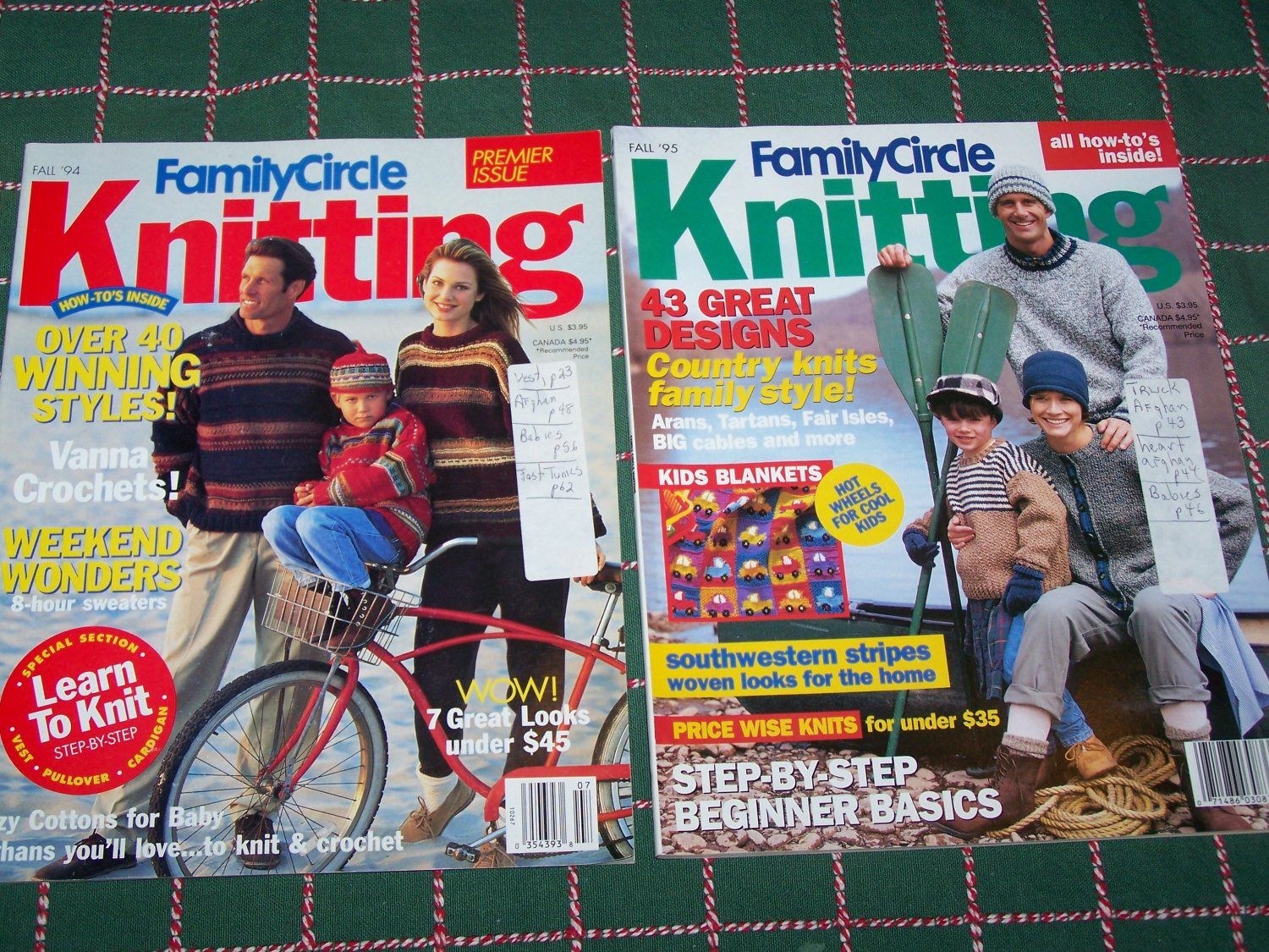 Lot of 2 Family Circle Knitting Back Issue Magazines Fall 83 Patterns 1994 1995
