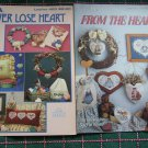 2 Lot VTG Country Cross Stitch Patterns Hearts Ornaments Wreath Pillow