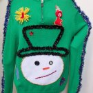 Handmade Snowman Head Sweater XL Ugly Christmas Tacky Beads Gaudy WINNER
