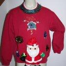 Ugly Christmas Party Sweatshirt Santa In 3D Plush Hanging Birds Puff Balls Large