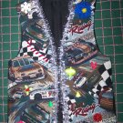 VTG Handmade Ugly Christmas Party Vest Race Stock Car Auto Racing Mens Womens