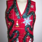 Ugly Christmas Vest XL Sleeveless Appliqued Santa Snowmen Snowflake