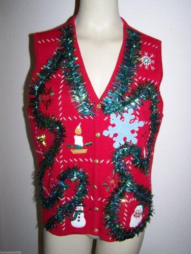 Ugly Christmas Vest XL Sleeveless Appliqued Santa Snowmen Snowflake