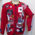 Large Ugly Christmas Sweater Party Patriotic USA Theme Flags Stars Candy Cane Rudolph