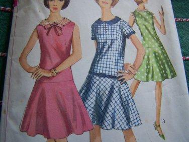 VTG Dress Dropped Waist Flared Skirt Sewing Pattern 6341
