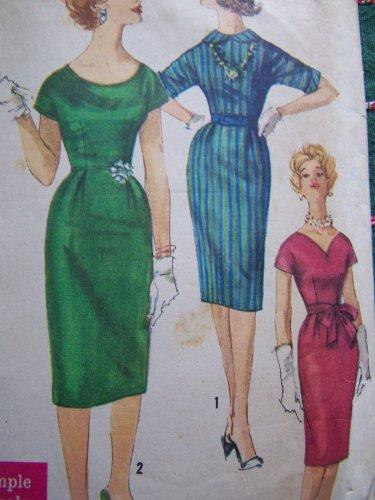 VTG Easy One Pc Slim Dress 3 Necklines Sewing Pattern 3698