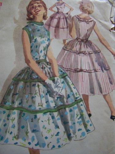 VTG Full Skirt One Piece Sleeveless Dress Sewing Pattern 1564