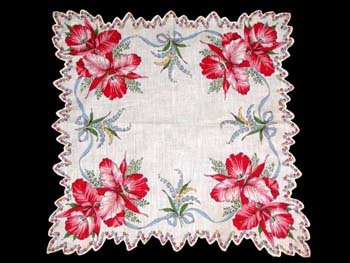 Vintage Red Orchid Floral Print Handkerchief
