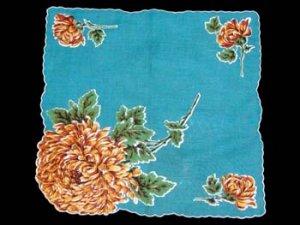 Vintage Bold Chrysanthemums Floral Handkerchief