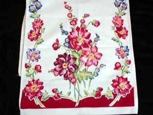 Unused Vintage Red Floral Print Kitchen Towel