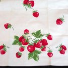 Unused Vintage Strawberries Print Kitchen Towel