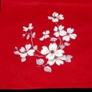 Unused Red & White Dogwood Floral Print Kitchen Towel