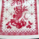 Unused Vintage Red Fruit Print Kitchen Towel