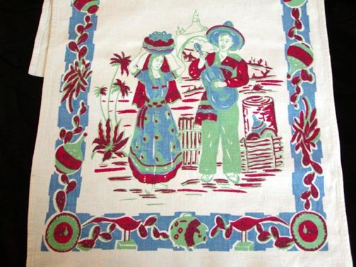 Unused Vintage Mexicana Print Kitchen Towel