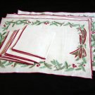 Unused Set Vintage Linen Christmas Placemats & Matching Napkins