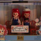 """1999 RAGGEDY ANN & ANDY  4 ½"""" Kelly & Tommy 2 Dolls & 2 RED CHAIRS  NRFB"""