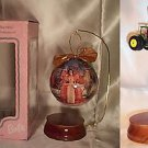 Hallmark 1997 HOLIDAY BARBIE DECOUPAGE ORNAMENT w/ WOODEN ORNAMENT STAND NRFB