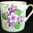 LEFTON HAND PAINTED VIOLETS CHINA DEMITASSE CUP Beautiful Vintage Delicate!