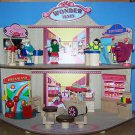 WOODEN WONDER 2 STORY MALL with HAIR SALON BOUTIQUE FAST FOOD TOYLAND 5 PEOPLE